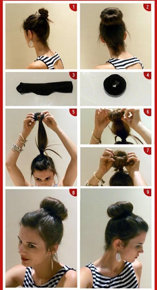 penteado fácil, coque lindo feito com meia,