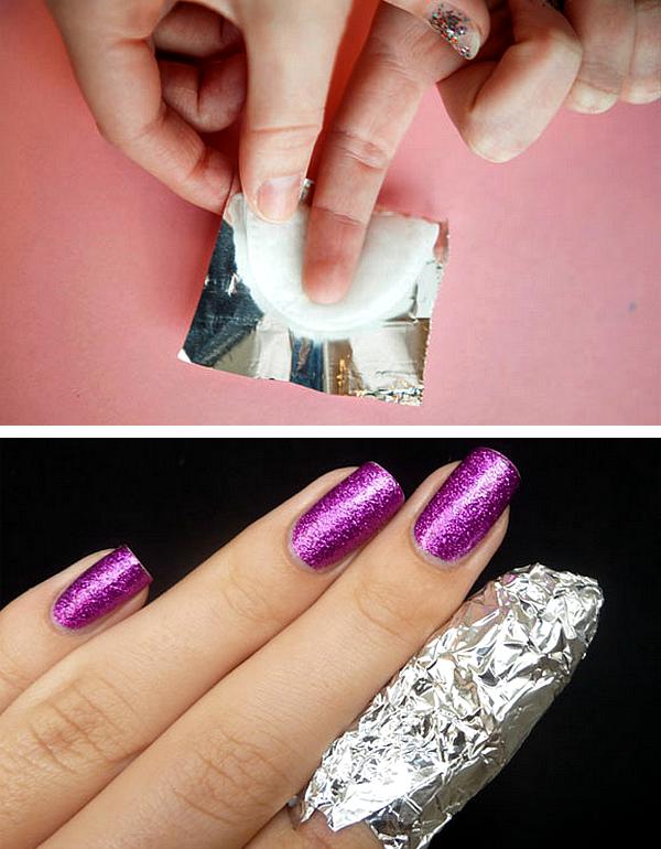 1 tirar remover esmalte glitter papel aluminio truque dica